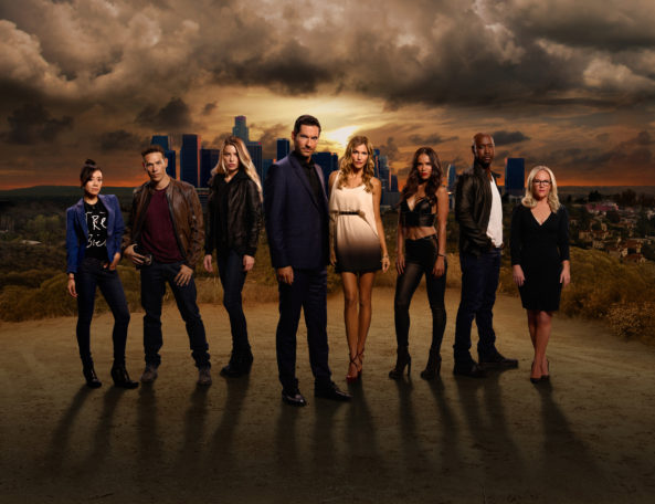 LUCIFER: Season 2 of LUCIFER premieres Monday, September 19th on FOX. Pictured: L-R: Aimee Garcia, Kevin Alejandro, Lauren German, Tom Ellis, Tricia Helfer, Lesley-Ann Brandt, DB Woodside and Rachael Harris. ©2016 Fox Broadcasting Co. CR: Brendan Meadows/FOX
