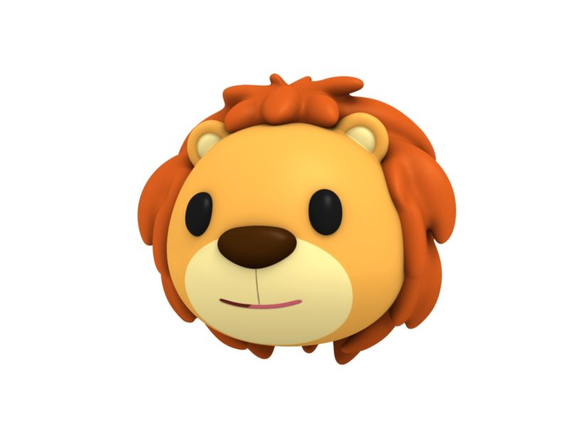 lion head 3d cartoon model