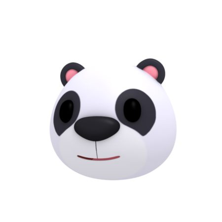 panda head cartoon 3d model