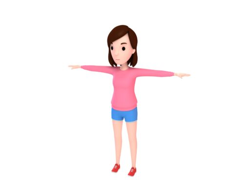 Girl character 3d model in cartoon style.