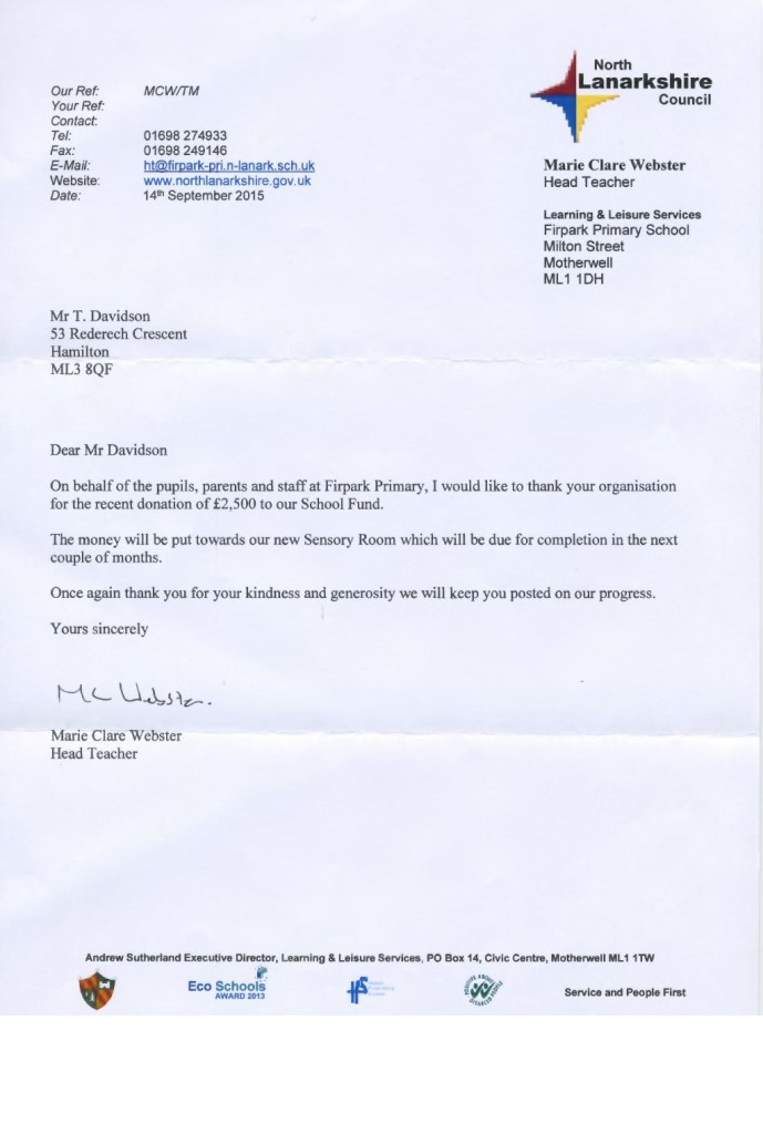 Fir Park School Thank You Letter 160915