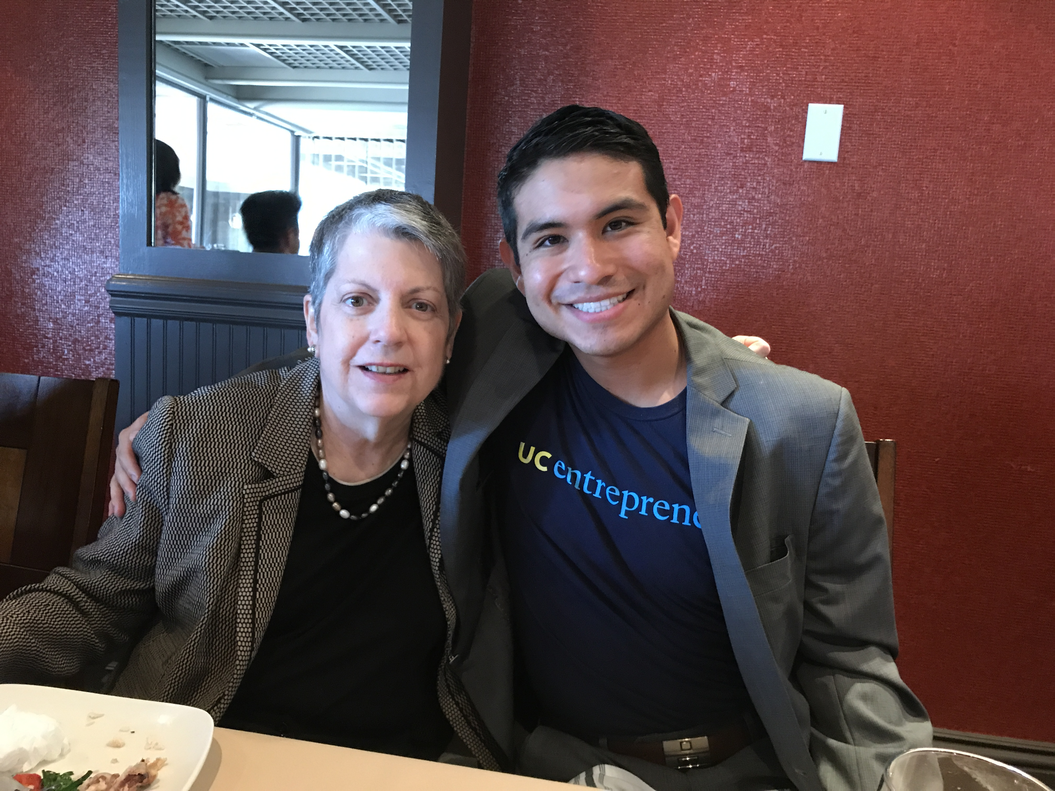 Pedro David Espinoza with Janet Napolitano