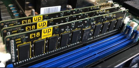 Photo of three UPMEM DIMMs in a server