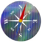 A compass dial overlaid on tp of a silicon wafer full of memory chips