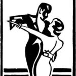 Art Nouveau silhouette of dancing couple