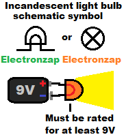 Incandescent light bulb schematic symbols and simple circuit illustration diagram by electronzap