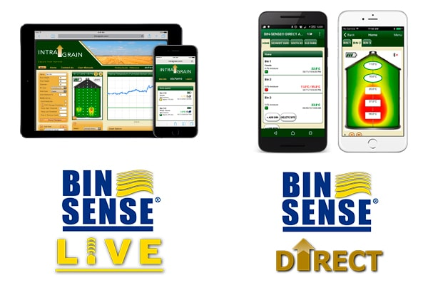 Bin Sense Live and Bin Sense Direct logos and products, tablet, mobile, apps