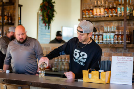 52eighty tasting room mixing drinks