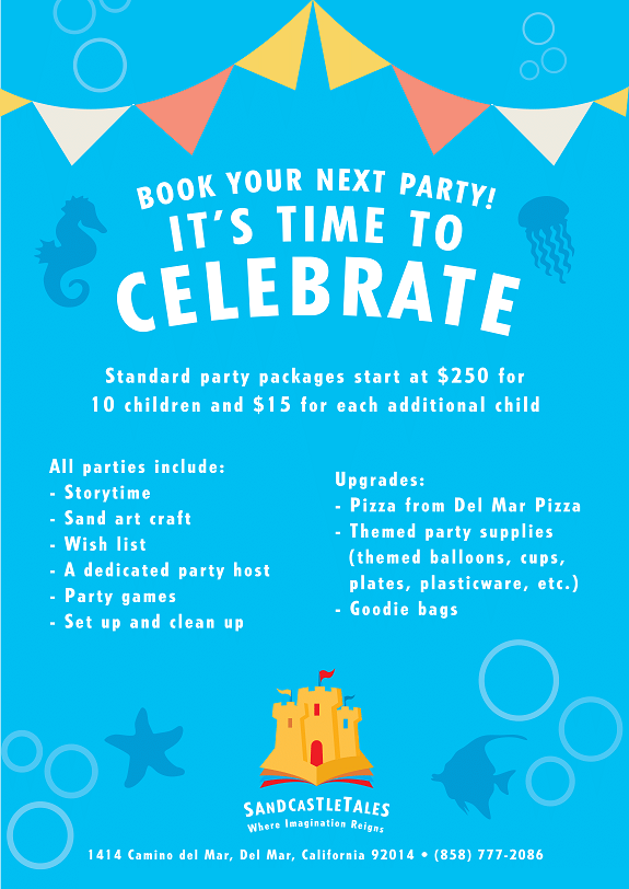 Event Space for Kid's Birthday Parties in Del Mar CA Sandcastle Tales