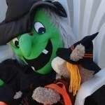Duffy the Disney Bear ShellieMay has a chat with a real Halloween Witch