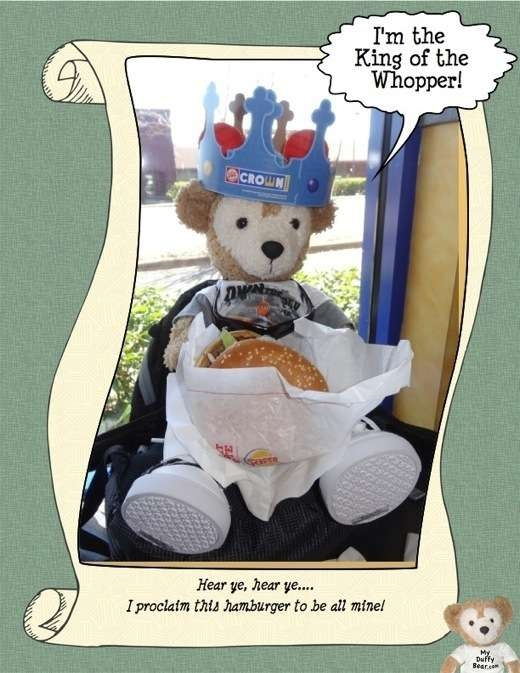 Duffy the Disney Bear with his Burger King Whopper Sandwich
