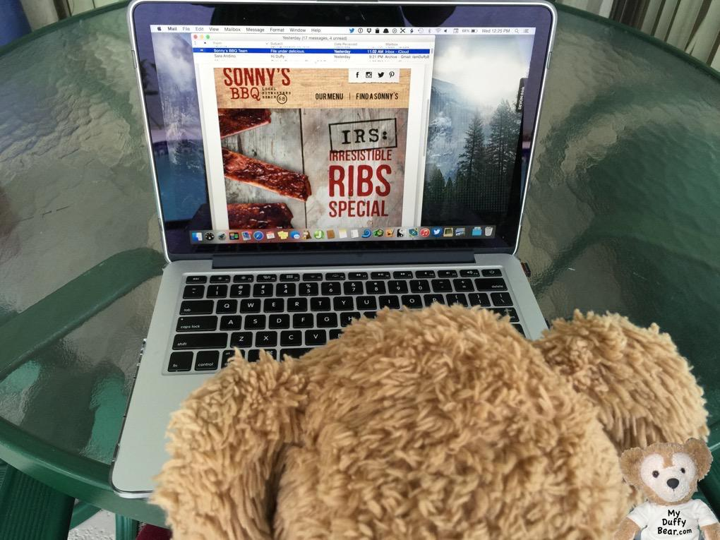 Duffy the Disney Bear just can't believe the pawtastick Sonny's BBQ Meal Special