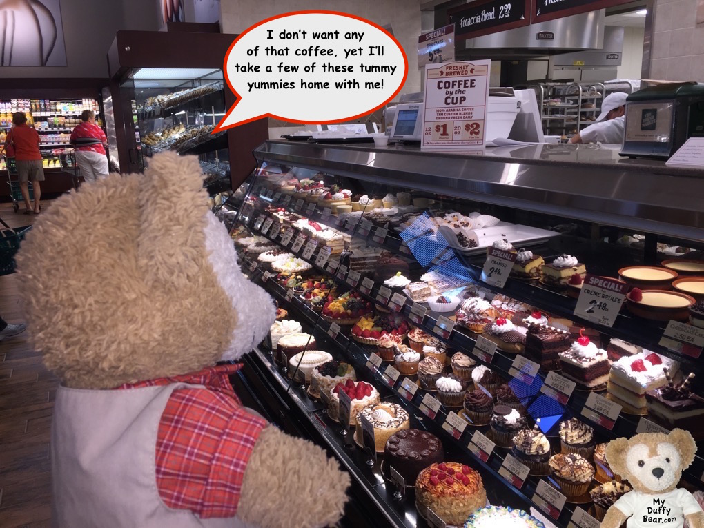 Duffy The Disney Bear asks to live in The Fresh Market's Pastry Case
