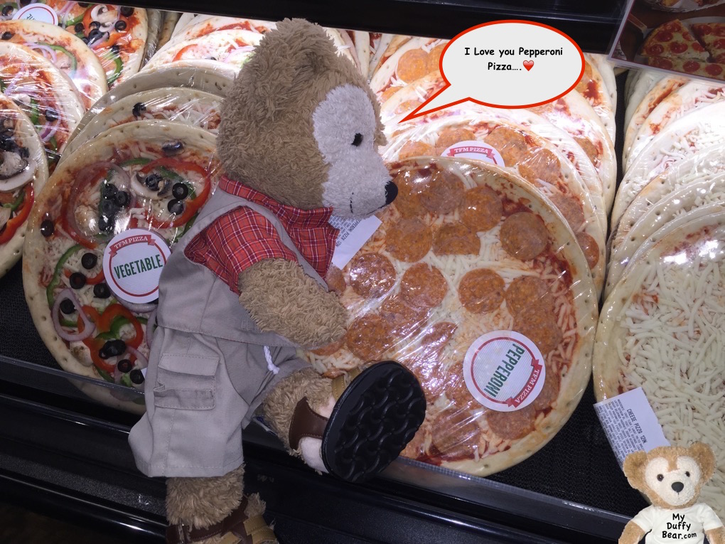 Duffy the Disney Bear discovers The Fresh Market has fresh pepperoni pizza