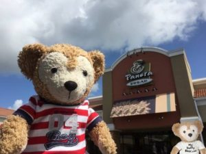 Duffy the Disney Bear arrives at Panera Bread and snaps a selfie
