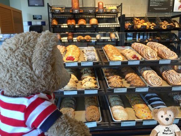 Duffy the Disney Bear delights in the sweets at Panera Bread