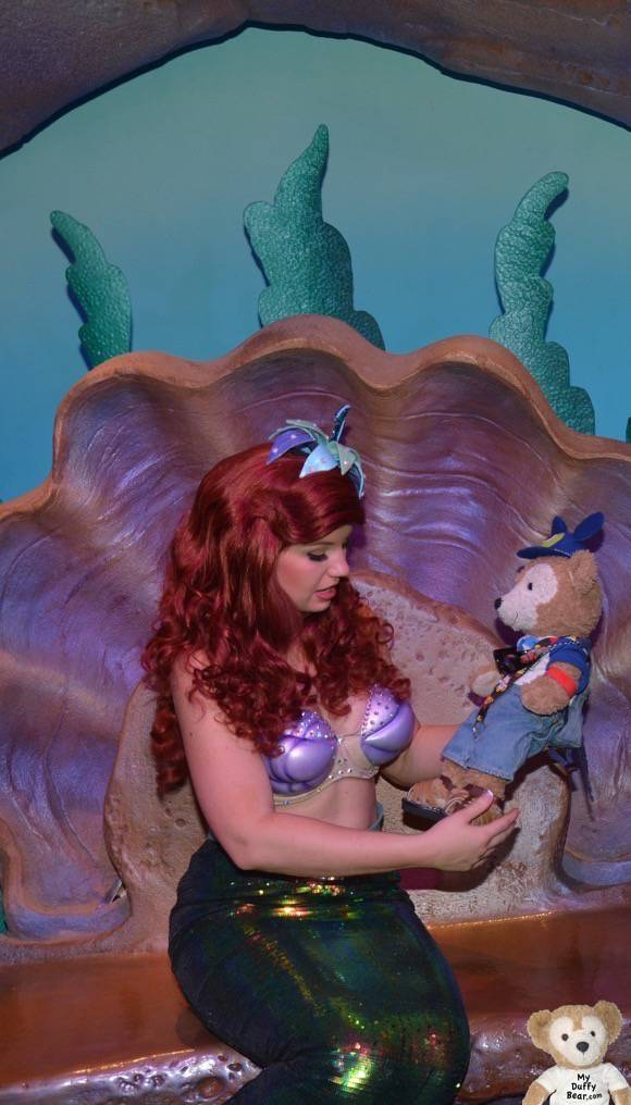 Duffy the Disney Bear gets to meet and greet with Princess Ariel in her magical cave