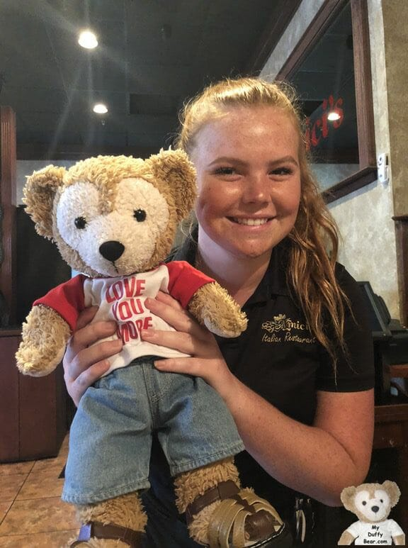 Duffy the Disney Bear with Amici's Italian Restaurant waitress