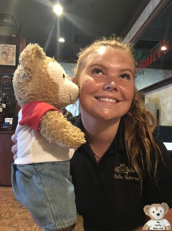 Duffy the Disney Bear gives Miss Abbey, his waitress, a big Kiss!