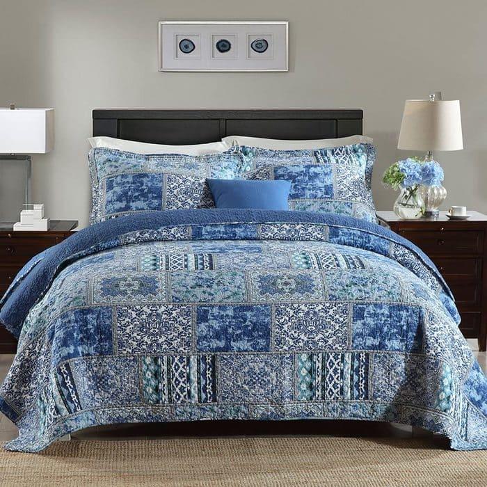 Cotton Bedspread -Reversible Patchwork Coverlet Set, Blue Classic Bohemian Pattern,