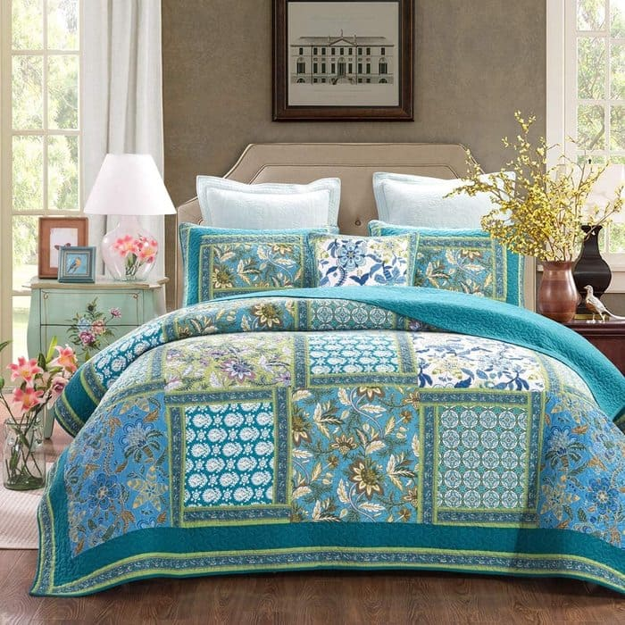 Reversible Breathable Comforter Botanic Floral Quilted - Bedroom's Bedspreads & Coverlet