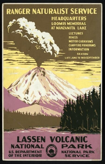National Park Poster Decor - Lassen Volcano
