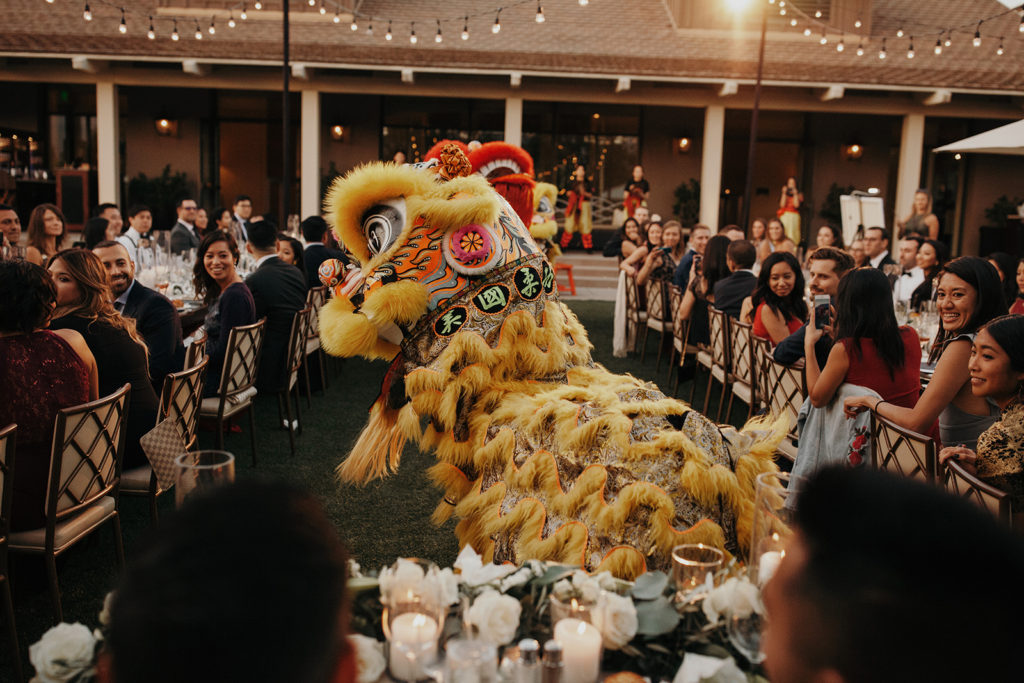 Dragon dancers perform at the reception