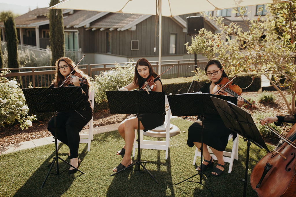 String Quartet Minuetto Strings provided lovely music on the wedding of Justin & Jo organized by Amazae Events Wedding Planner San Jose California