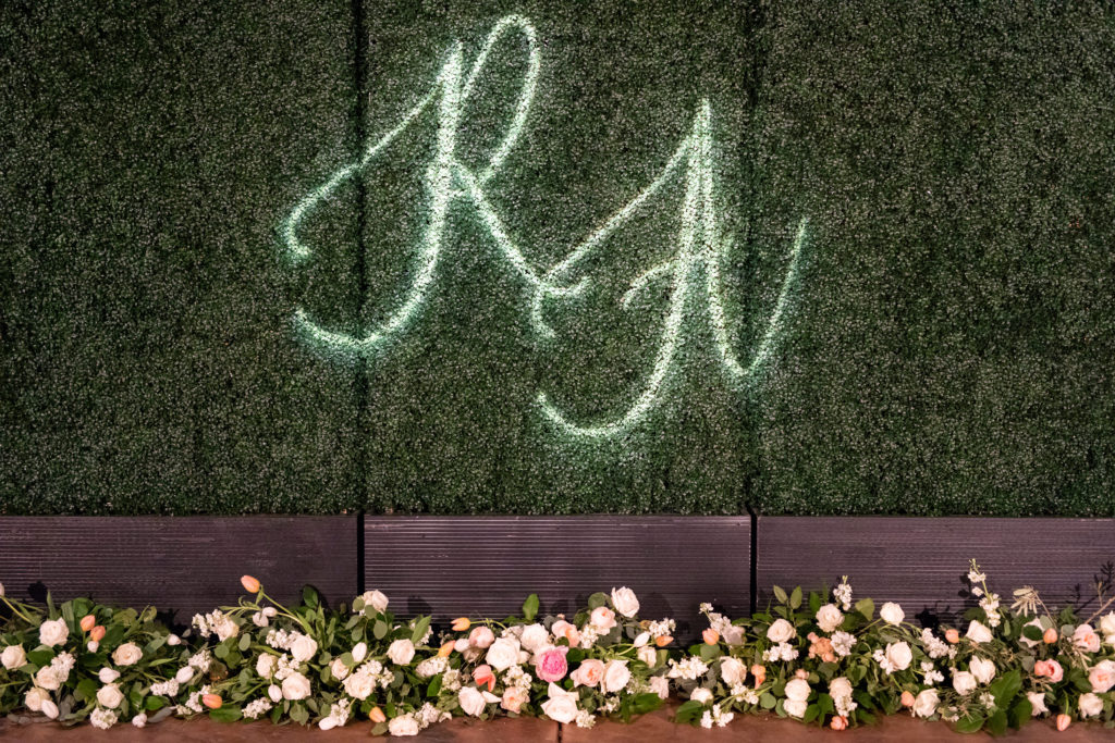 Glowing Monogram Green Wall