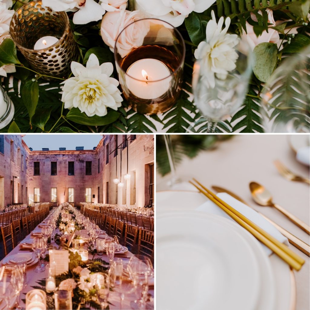 tropical floral and gold detail place setting