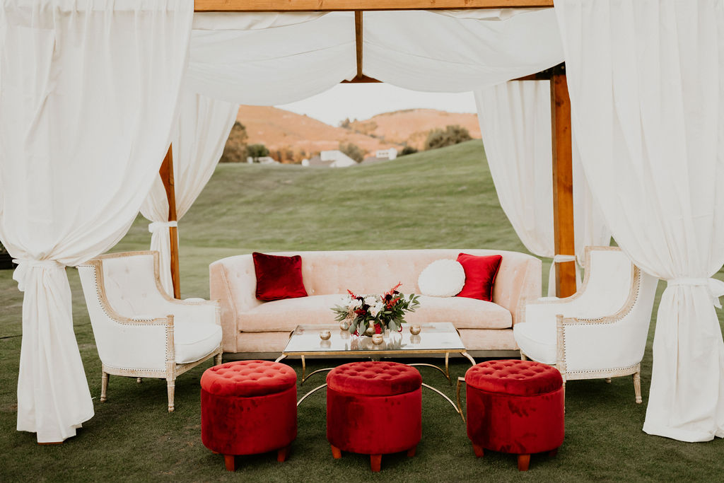 Intimate seating under cabana