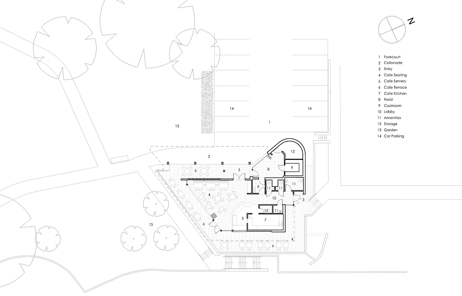 Cafe & Florist Macquarie Park Cemetery Architectural Floor Plan – Gardner Wetherill GW 5