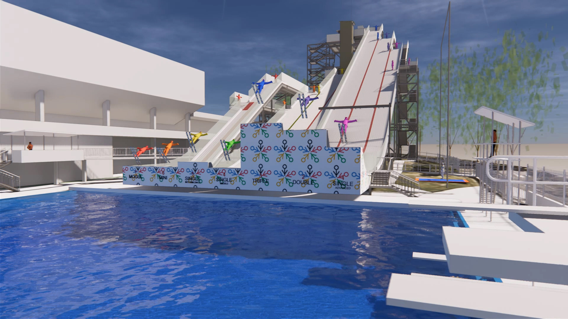 International Feestyle Skiing Training Facility at the Sleeman Sports Complex – Pool and Ski Ramps 3D Render – Gardner Wetherill GW 1