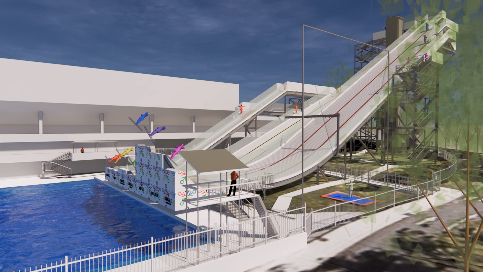 International Feestyle Skiing Training Facility at the Sleeman Sports Complex – Pool and Ski Ramps Architectural Render – Gardner Wetherill GW 2