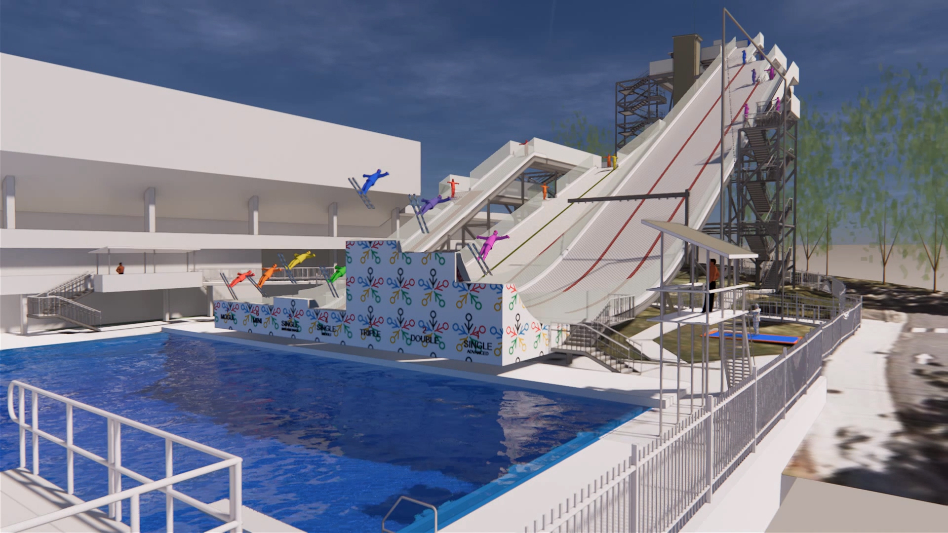 International Feestyle Skiing Training Facility at the Sleeman Sports Complex – Pool and Ski Ramps Architectural Render – Gardner Wetherill GW 3