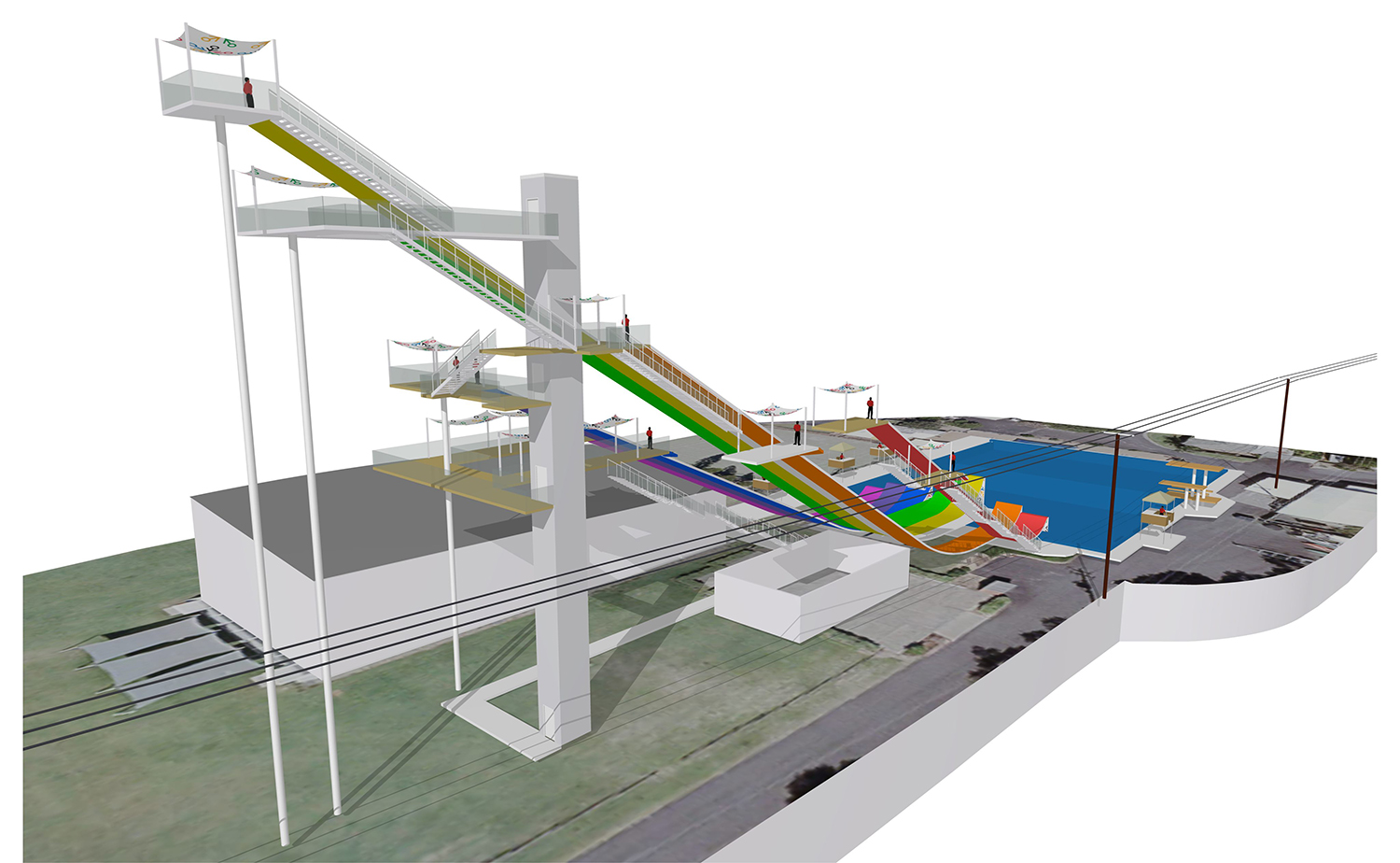 International Feestyle Skiing Training Facility at the Sleeman Sports Complex – Pool and Ski Ramps Architectural Render – Gardner Wetherill GW 4