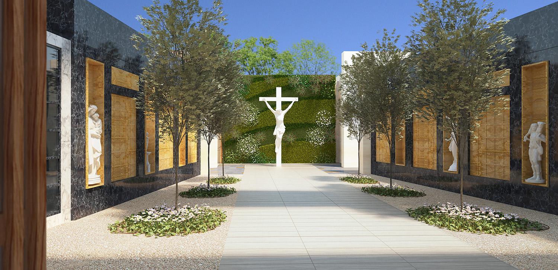 Mausoleum Macquarie Park Cemetery Courtyard Architectural Render – Gardner Wetherill GW 3
