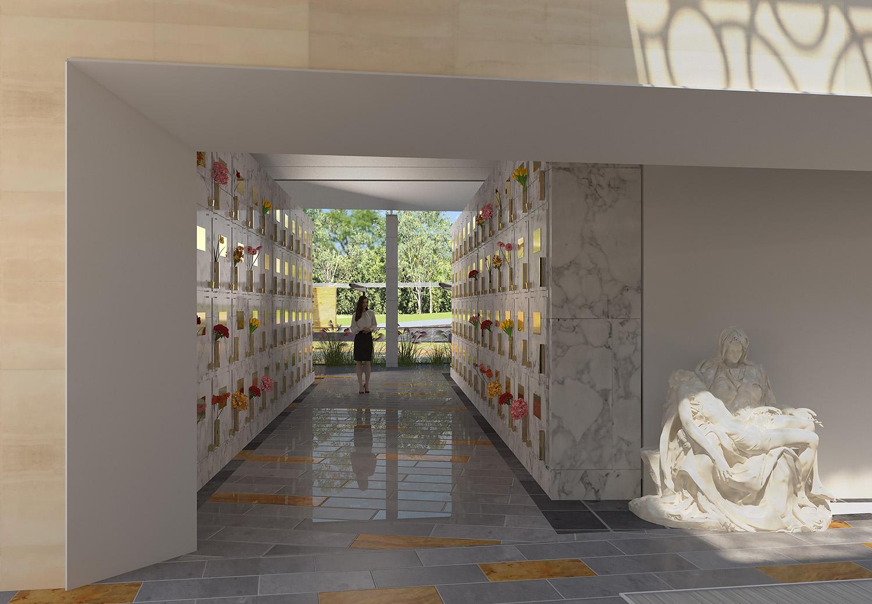 Mausoleum Macquarie Park Cemetery Crypts Architectural Render – Gardner Wetherill GW 4
