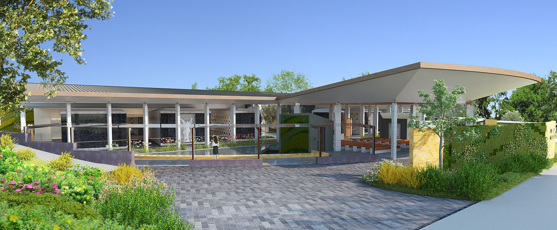 Mausoleum Macquarie Park Cemetery Exterior Facade Architectural Render – Gardner Wetherill GW 5