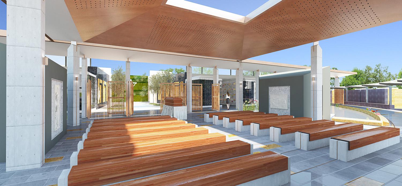 Mausoleum Macquarie Park Cemetery Seating Area Architectural Render – Gardner Wetherill GW 2