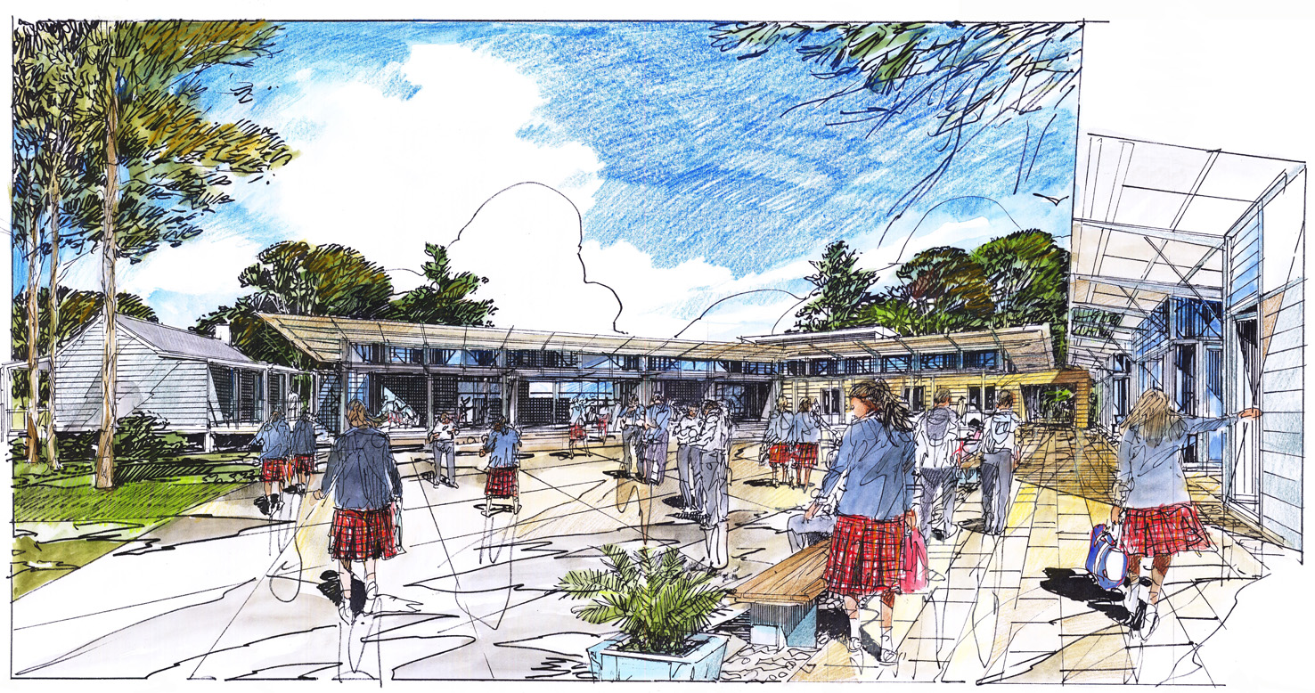Northholm Grammar School Master Plan Architectural Perspective Drawing – Gardner Wetherill GW 1