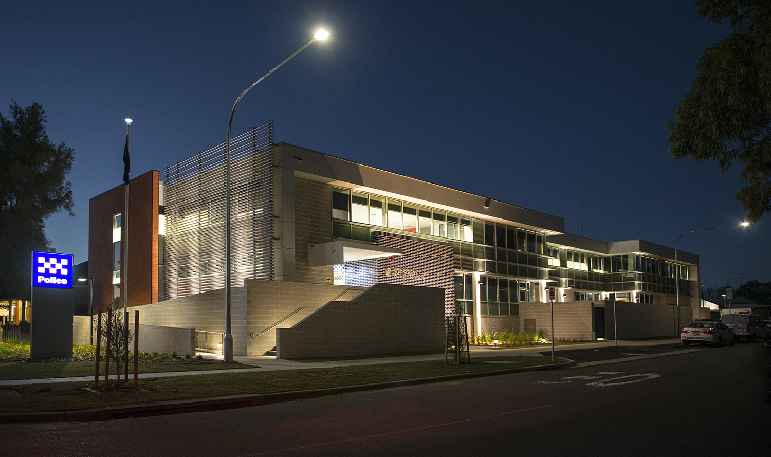 Riverstone Police Station Exterior Facade Night Time – Gardner Wetherill GW 1