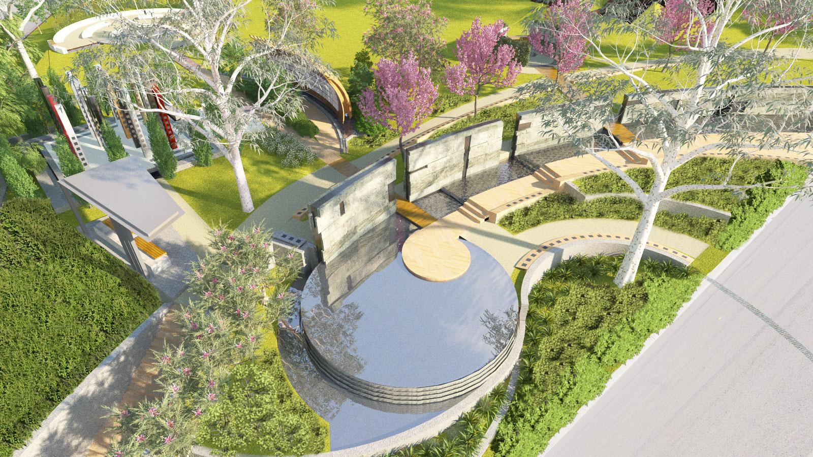 Sensory Gardens & Memorials Birds Eye View Architectural Render – Gardner Wetherill GW 1