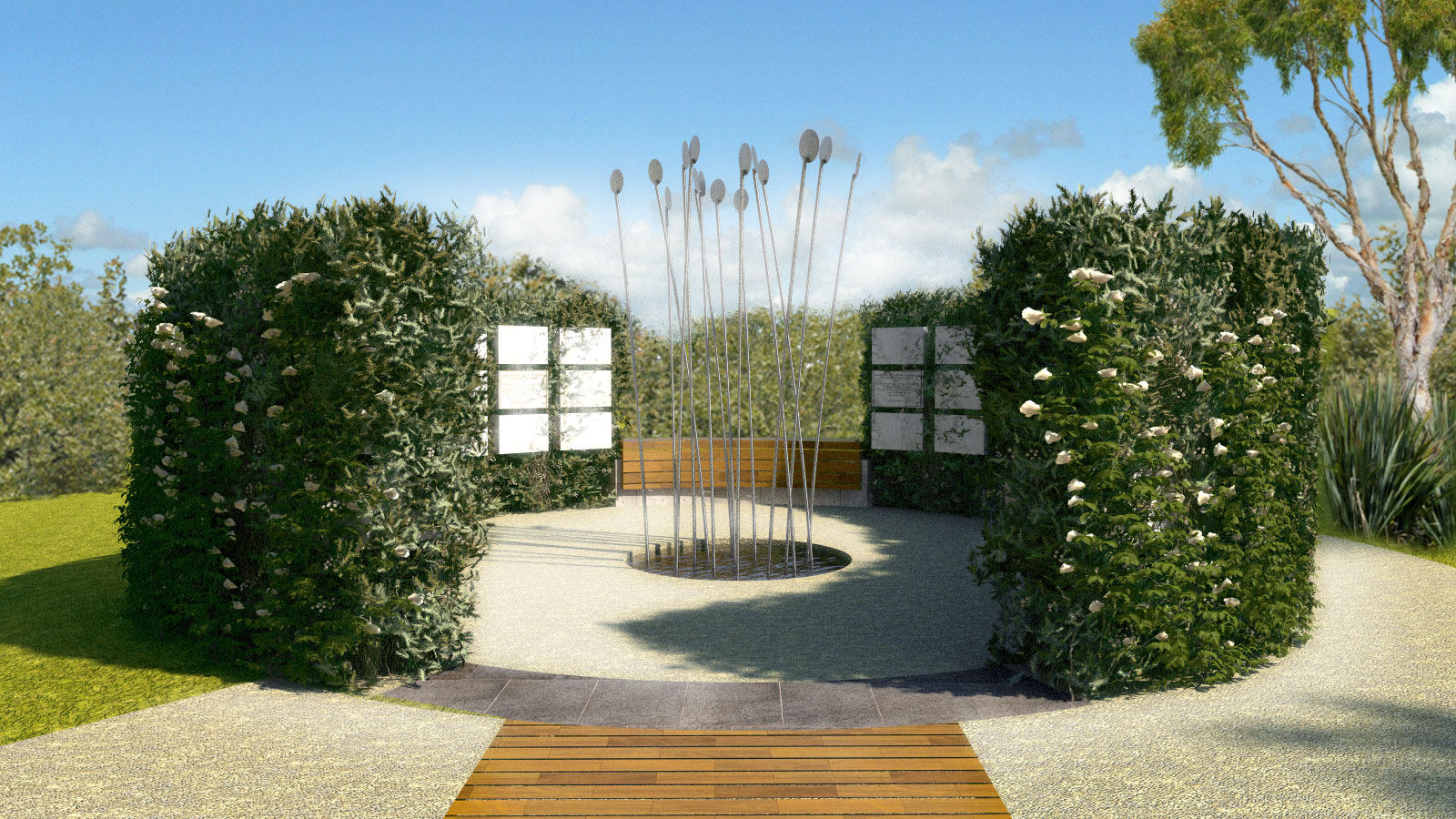 Sensory Gardens & Memorials Columbaria Green Wall Chimes Sculpture Peaceful Haven Architectural Render – Gardner Wetherill GW 4