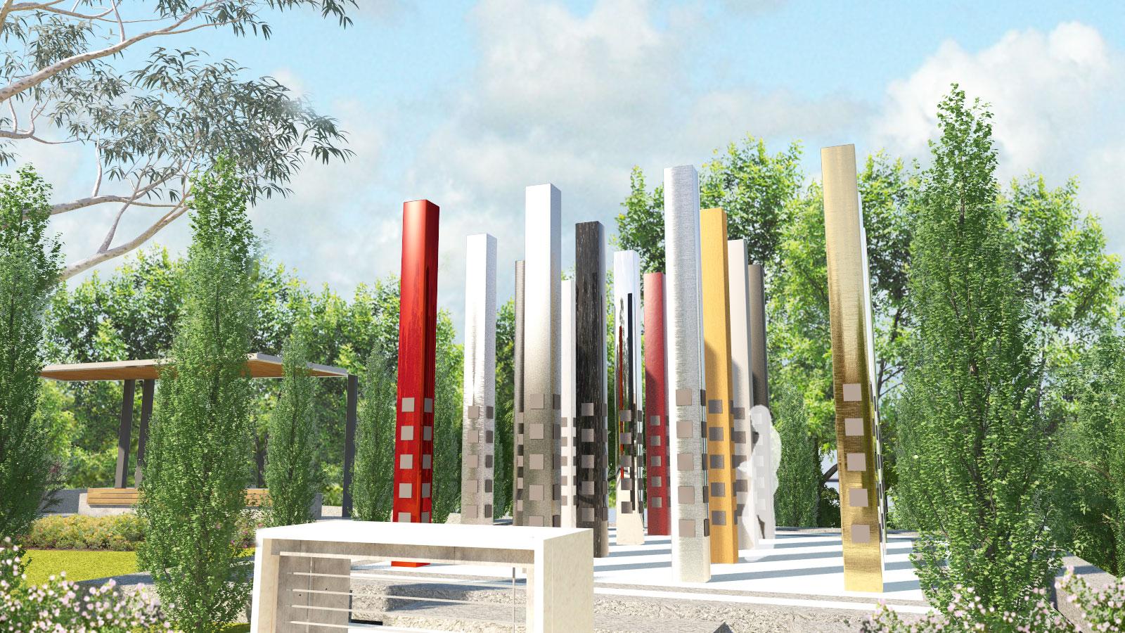 Sensory Gardens & Memorials Loss Souls Sculpture Architectural Render – Garnder Wetherill GW 2