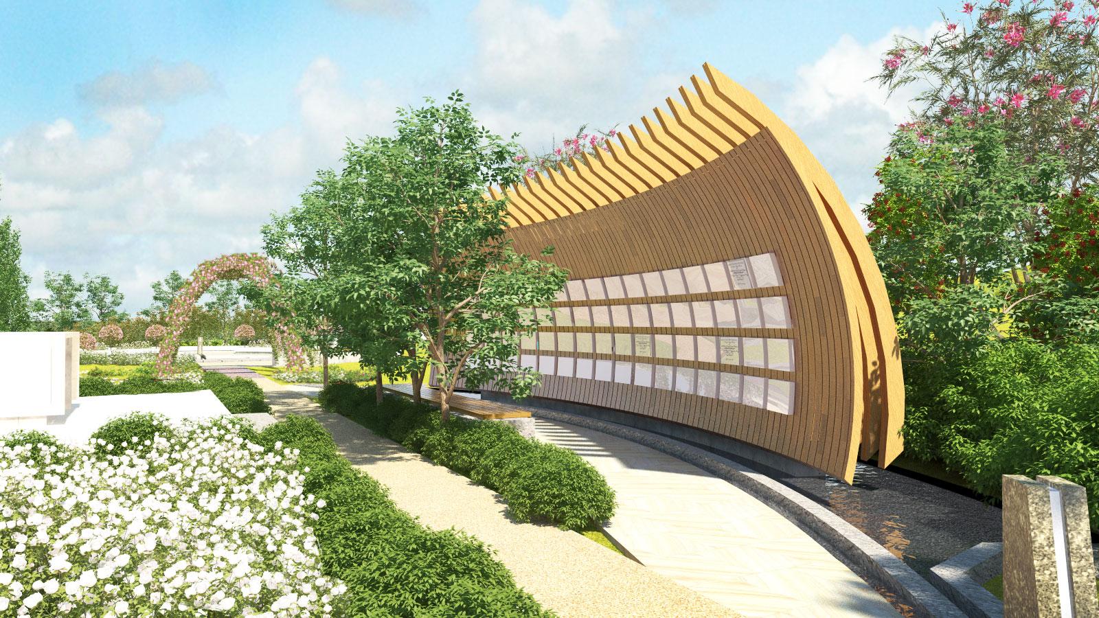 Sensory Gardens & Memorials Wave Wall Columbaria Sculpture Architectural Render – Garnder Wetherill GW 3