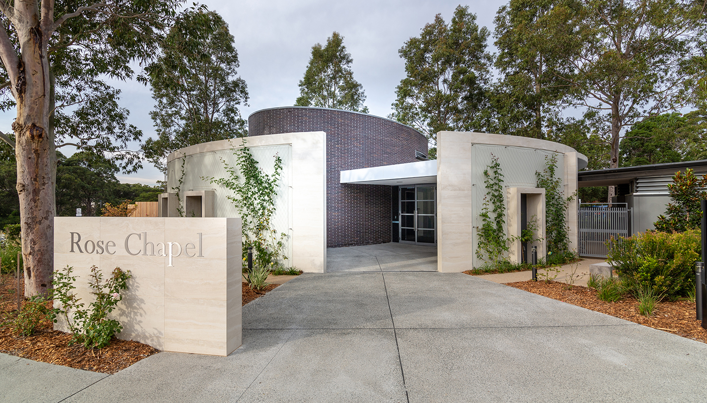 The Rose Chapel Macquarie Park Cemetery Exterior Facade – Gardner Wetherill GW 1