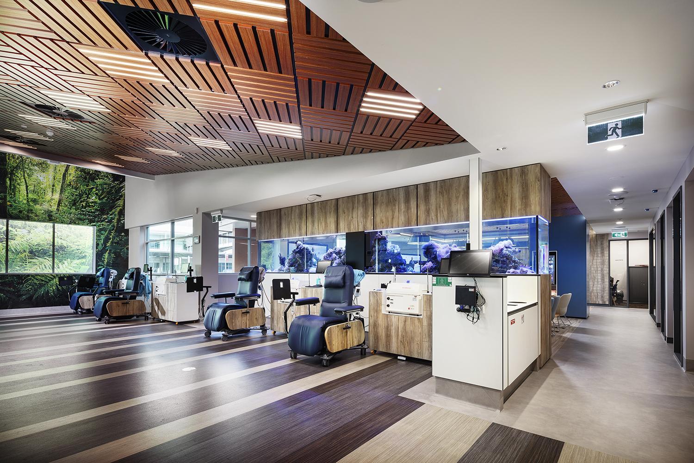 Townsville Plasma Centre Australian Red Cross Lifeblood – Donor Floor Interior Architecture and Fish Tank Design – Gardner Wetherill GW 3