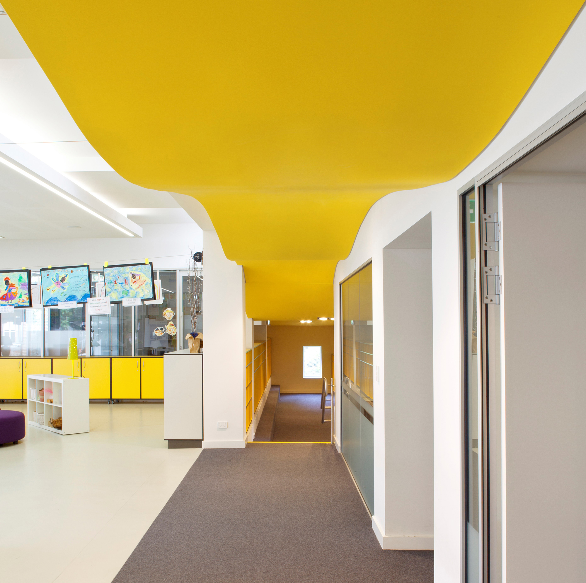 Wenona Woodstock Infants School Interior Design Hallway and Architectural Curved Yellow Roof – Gardner Wetherill GW 4