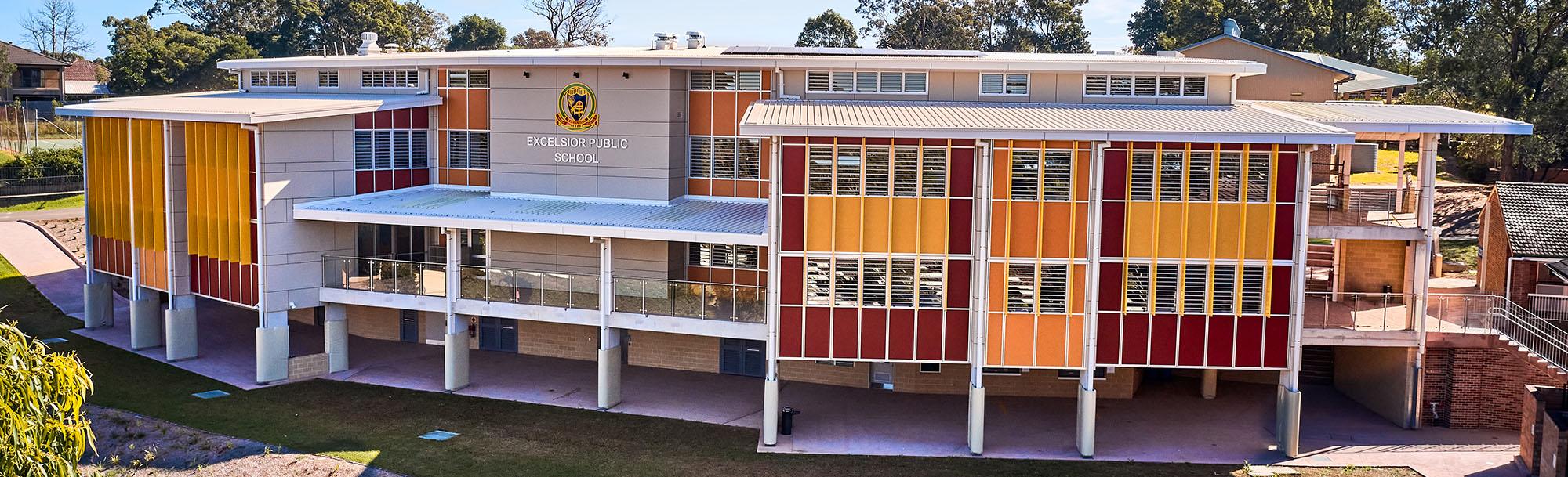 Excelsior Public School Architecture Exterior Panorama – Gardner Wetherill GW 9